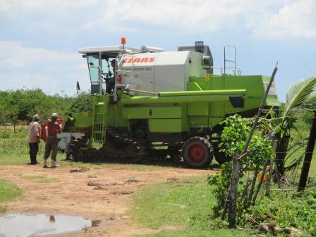 稲の収穫機械、キャタピラーを取り付けて完成