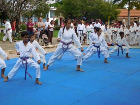 日本文化集会での空手の実演、中央はベリンダ